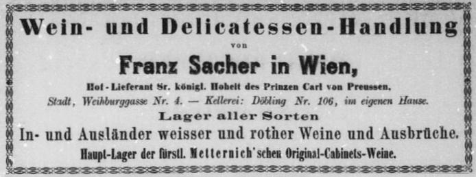 Aufschrift des Delikatessen Sacher in Wien