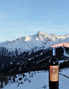 Weinflasche im Hotel Alpenfriede